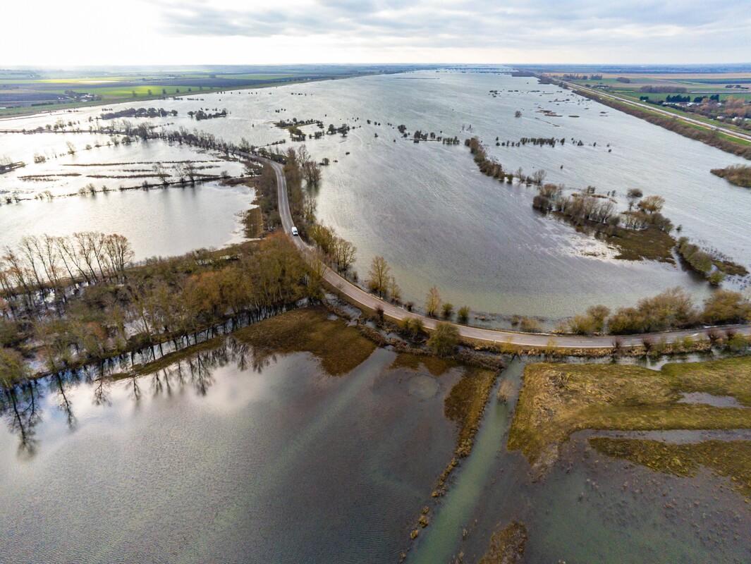 A flooded landscape at Welney.